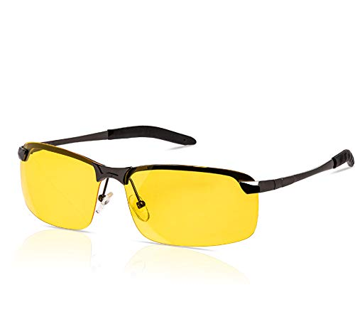 Clear Night Driving Glasses - Day And Night Sunglasses - Anti Glare Glasses For Light Sensitivity - Tac Glasses Polarized Yellow Lens With Stylish Case