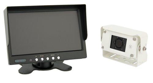 Vega - Sistema per retromarcia, con monitor HD da 7'' ad alta definizione, telecamera a colori a 600 linee TV (classe di protezione IP68), con audio e visione notturna, cavo di collegamento incluso (12 - 24 Volt)