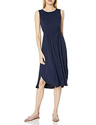A cinched waist adds shape to this relaxed-fit gathered dress with a curved dropped hem Luxe Jersey - Perfectly rich, smooth fabric that drapes beautifully Start every outfit with Daily Ritual's range of elevated basics- check out more sweaters, top...