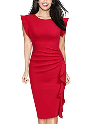 SIZE RECOMMEND: US 4/6(Small), US 8/10(Medium), US 12/14(Large), US 16(X-Large), US 18(XX-Large) Suit for Office, Night Out Party Or Wedding. Scoop Neck, Zipper On The Back. Sleeveless and 2/3 Sleeve two kinds Style can be chosen. Ruffles Design, Ele...