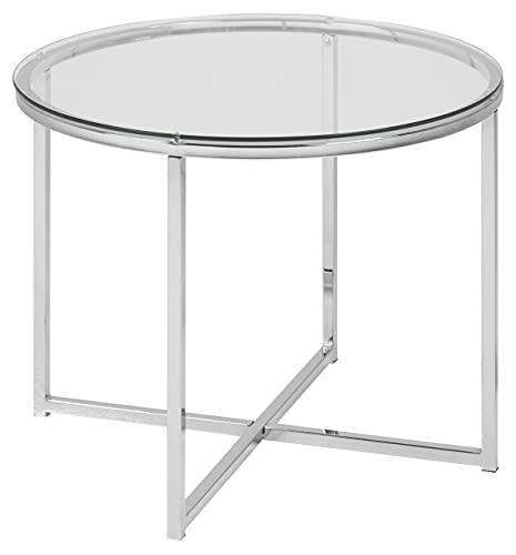 AC Design Furniture 0426862046 Tavolino Gurli, Vetro Trasparente 5 mm, Struttura in Metallo Cromato, 45 x 55 x 5 cm