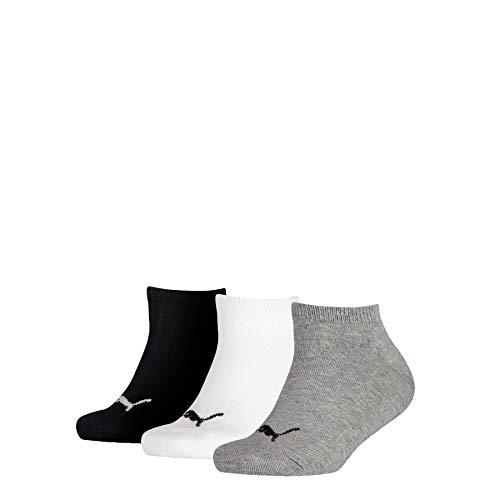PUMA Invisible 3p Sport, Grigio (Grey/White/Black 803), Unica (Taglia Produttore: 31/34) (Pacco da 3) Bambino
