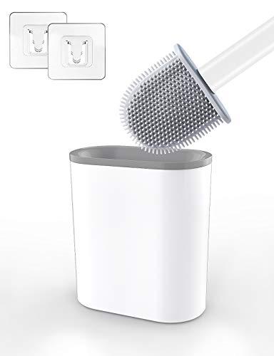 Aitsite Toilettenbürste, WC Bürste und Halter, Silikon Toilettenbürste Set, Schnell Trocknendem Haltersatz für Badezimmer und WC-Garnitur, Kann gestellt oder aufgehängt Werden (Weiß)