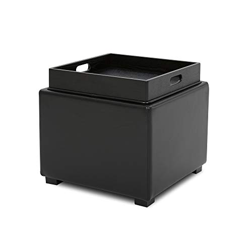 CHITA Leather Storage Ottoman Cube, Footrest Stool Seat Serve as Side Table, Black