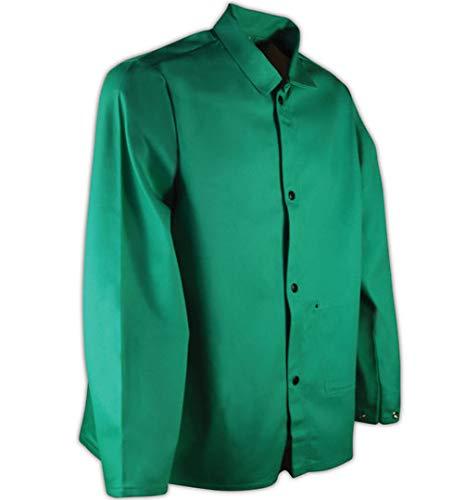 "Magid SparkGuard Flame Resistant 12 oz. Cotton Jacket, Green, 30"", Snap Front and Wrist Enclosures"