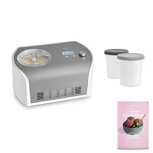Eismaschine Elli 1,2 L mit selbstkühlendem Kompressor 135 W inkl. Aufbewahrungsbehälter 2er-Set, aus Edelstahl mit entnehmbarem Eisbehälter, inkl. Rezeptheft
