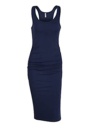 """US Size:XS (US 0-2 ),S (US 4-6 ),M (US 8-10 ),L (US 12-14 ),XL (US 16-18 ).Model's size imformation:Height:5'9"""", Bust:34B,Weight:120LBS.Wear:XS Features:sleeveless, scoop neckline, knee length, shirring details at the sides,casual style,plain dress,s..."""