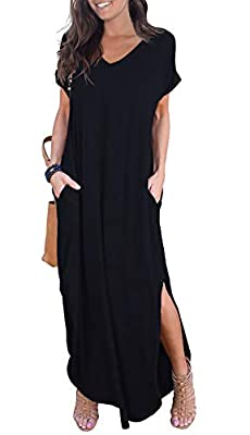 Material: 95% Rayon , 5% Spandex.Stretchy,soft and comfy. Short sleeve,V neck and Backless, Long dress,Pocket,Maxi dress, loose fit. Simple casual style, fit for everyday dressing, wear at home, travel, you can match with your pumps, heels, boot Plea...