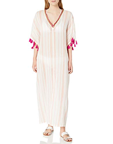 31t52OvUklL DESIGNER SUMMER SWIMWEAR — This Trina Turk maxi caftan dress will be a head-turning addition to your poolside ensemble. A plunging v-neck, billowy sleeves, and decorative tassels, stitching, and bead details make this sophisticated cover-up the perfect go-to for the beach, pool party, or summer cruise SWIMWEAR COVER-UP — This trendy item can be worn over your suit at the pool party or at the beach for discreet coverage and comfort. Wear it as you come up for air, or on the way to take a dip. This item can also be sported as a chic summer garment with or without your swimwear BRIGHT COLOR STRIPE PRINT — Show off your summer tan in this trendy swim item that features an exotic colorful striped design against a chic solid background