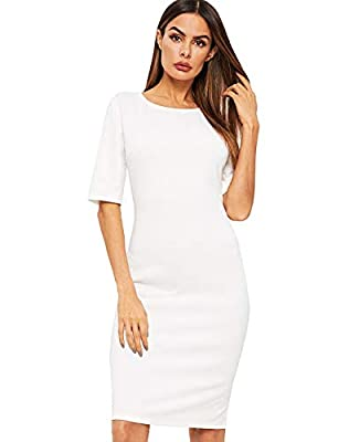 Soft, lightweight, skin touch material, the dress will give you a comfortable and breezy wearing experience. Features: This women bodycon dress features high-quality material, solid color, round neck, knee length. The pencil dress goes great with any...