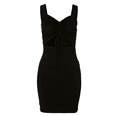 Sleeveless, wide shoulder straps, sexy V neckline and backless, adjustable ruched drawstring design at chest. Solid black color, sexy large cutout design at waist, bodycon fit, package hip, above knee mini length, high waist. Made of high quality cot...