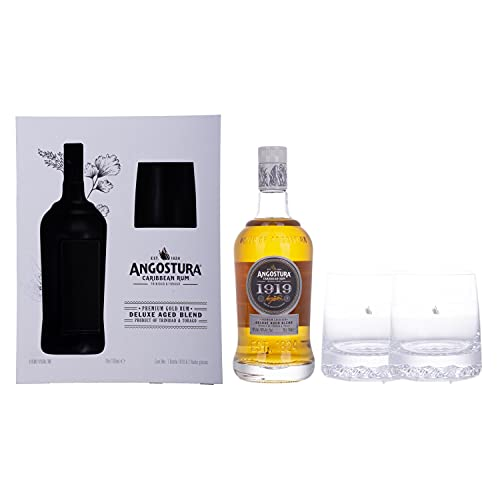 Angostura Ltd. 1919 Premium Gold Rum Deluxe Aged Blend 40% Vol. 0,7L In Giftbox With 2 Glasses - 700 ml