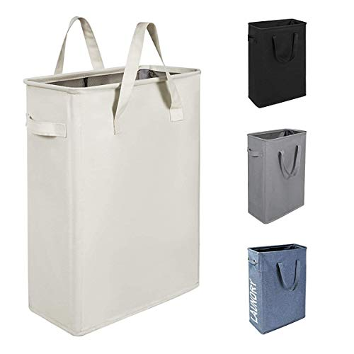 Chrislley 45L Slim Laundry Hamper Collapsible Laundry Basket Thin Narrow Laundry Hampers with Handles Dirty Slim Hamper for LaundrySlim 21 Inches, Beige