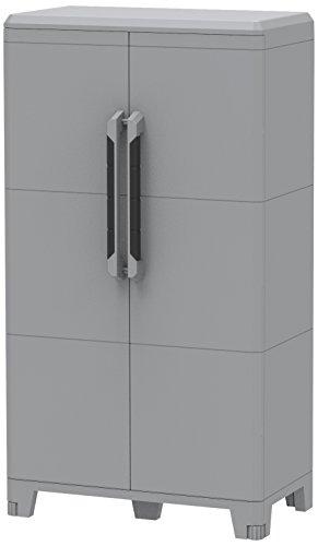 Terry 1 Armadio Multifunzionale Alto, da Esterno Interno, Due Ante, grigio, 78 x 43.6 x 143 cm