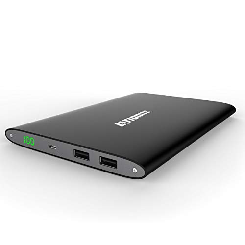 Litionite Plasma 20000mAh Power Bank ultra sottile in alluminio - 2x USB (2.4A) - Caricabatterie con Display Led Touch Screen - Batteria Esterna portatile per Smartphone/Tablet (Black)