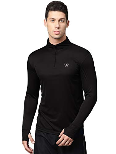 WC RIGHT Men's Slim Fit T-Shirt (MENS-BLACK-THUMBCUT-ZIPPER-TSHIRT-02M_Black_Medium)