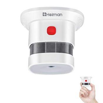 Heiman Mini détecteur de fumée, 10 Ans de Vie de la Batterie (Batterie Incluse), Reddot Award, certifié CE, Mondial photoélectrique détecteur de fumée pour maison/magasin/Société/School-hs1sa