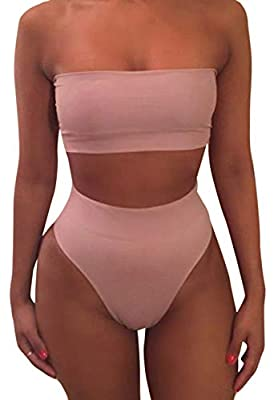 Removing strap and soft removable support on the bust area Two ways wearing:strap or strapless High waist thong bikini bottom style Cold hand wash and machine wash both avaialable Color is a little brigher than the picture,top is a little wideth than...