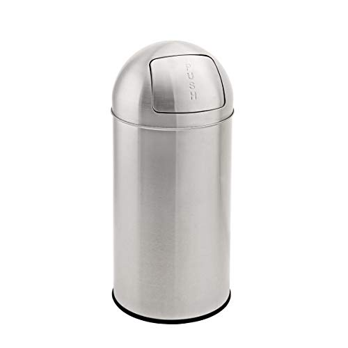 SVITA Mülleimer mit Push Klappe Edelstahl Küchen-Eimer Abfalleimer Silber (35 Liter)