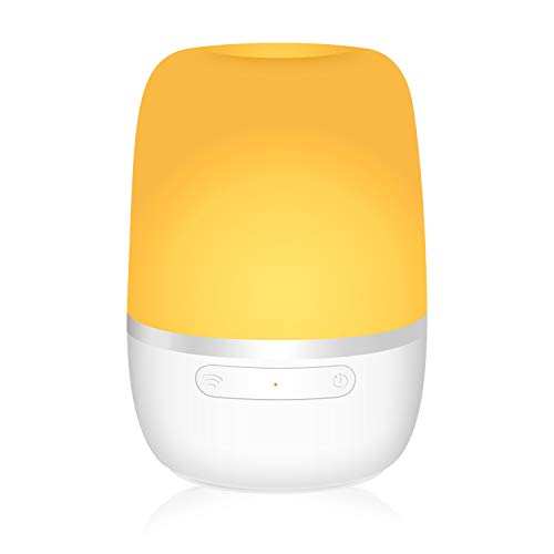 meross Lampe de Chevet Intelligente, LED Lampe de Table Connectée WiFi Compatible avec Amazon Alexa, Google Home et IFTTT, Veilleuse avec 16 Millions de Couleurs Réglables et Chargement USB