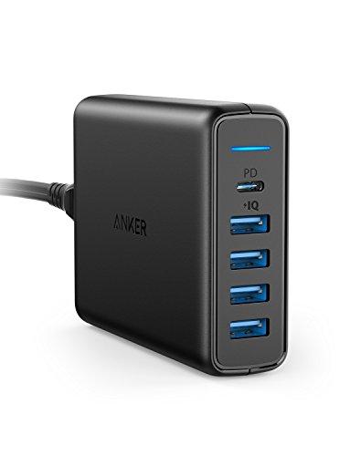Anker Power Port C de 5Puertos USB Cargador 60W Cargador de Pared, 1Puerto con Power Delivery para Apple MacBook, Nexus 5x/6P y 4Puertos PowerIQ para iPhone, iPad, Samsung y Otros Dispositivos