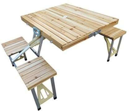 FAB Innovations Picnic Table Folding Aluminium Outdoor Table Wooden Top Engineered Wood Outdoor Table (Finish Color - Wooden)
