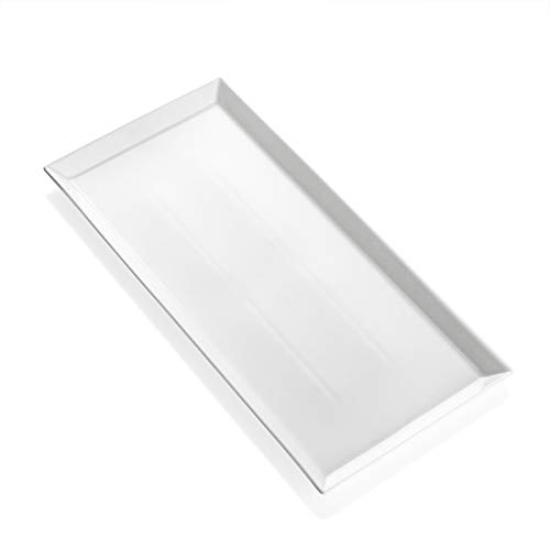 Sweese 703.000 White Serving Platter, Porcelain Serving Tray for Parties, Rectangular Plate - 15.5 Inch