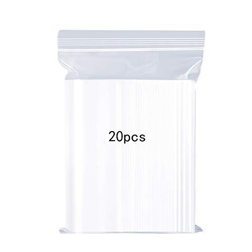 Sacchetti in plastica Trasparente risigillabili Borsa con Chiusura a Cerniera Rigida Riutilizzabile Ispessimento e Resistente premere per chiudere con Chiusura 30x40 cm Applicare 20PCS Large