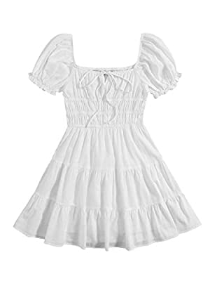 Non stretch fabric, soft and lightweight, the dress will give you a comfortable wearing experience. Features: puff short sleeve, tie neck, square neck, ruffle hem, ruched bust, high waist, above knee length, sweet style shows your unique personal cha...