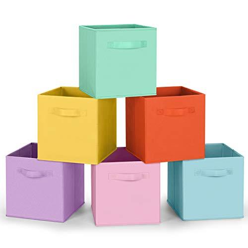 Amazon Brand Umi Set di 6 Contenitore Pieghevole, Scatole per Armadio con 2 Manici, Cubi Cassetti in Tessuto Non Tessuto, Organizer Cesti Giocattoli per Casa, Ufficio, Asilo Nido, Colori Pastello