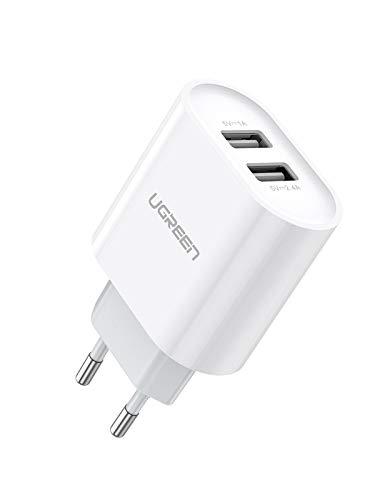 UGREEN 2 Cargador USB de pared 17W 5V 3.4A Cargador USB Enchufe para iPhone XS Max XR X 8 7 6 iPad Pro Mini teléfono inteligente Samsung S10 S9 S8 A50 A8 A6 J6 M20 Huawei P20 Lite Mate 20 Lite - Blanco