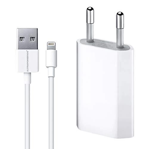 ultrapower100 Carica Batteria [Garanzia a Vita] Compatibile con iPhone 5 5C 5S 6 SE 6S 7 8 X XS XR XS Max / 1A 5W USB + Cavo di Ricarica Kit 2 in 1 Spina Alimentatore + Cavetto Dati 100 cm 1 Metro