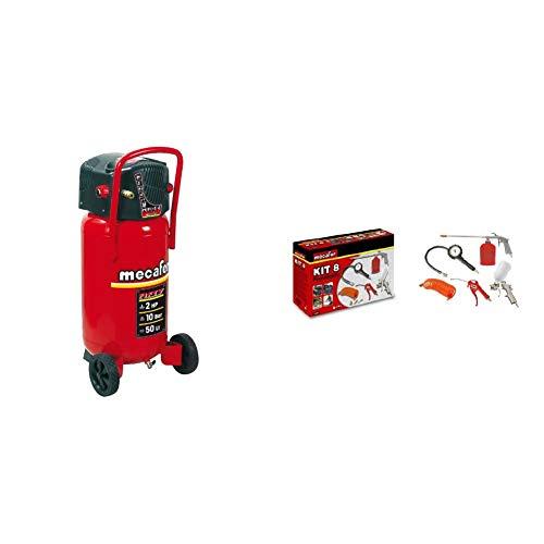 Mecafer 425090 Compresseur 50 L 2 hp fifty mecafer & 150098 Kit 8 accessoires (Boite carton quadrichromie) + Kit connexion universel