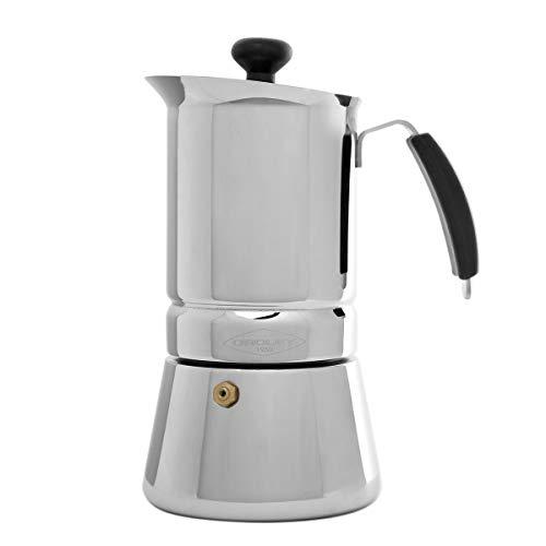 Oroley - Cafetera Italiana Arges | Acero Inoxidable | 10 Tazas | Cafetera Inducción, Vitrocerámica, Fuego y Gas | Estilo Tradicional
