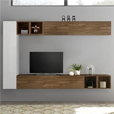 Lizzano - Parete TV di design, colore: bianco laccato e noce