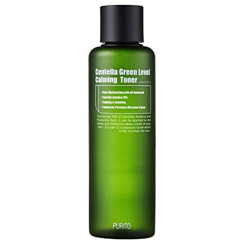 PURITO Centella Verde Level Calming Toner 200ml 6.76fl.oz, tonificador sin agujeros, tonificador facial diario natural, acné, tonificador facial para pieles sensibles,
