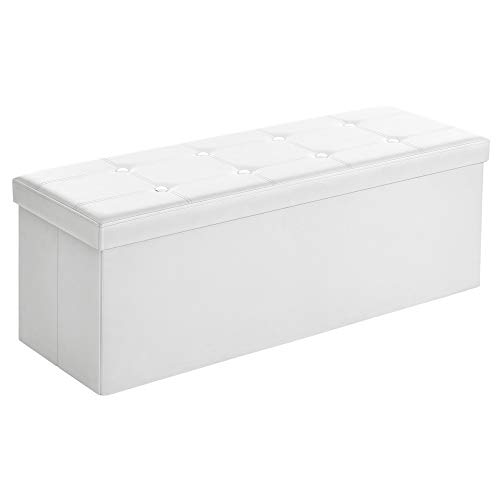 SONGMICS 43 Inches Faux Leather Folding Storage Ottoman Bench, Storage Chest Footrest Padded Seat, White ULSF702