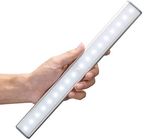 MOSTON Luce a LED Magnetica Ricaricabile con USB|18 LED,Sensore di Movimento,Automatica.Ideale per Armadi,Pensili,Dispense.Portatile,senza fili,senza batterie,si attacca ovunque Confezione,Argento