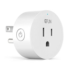 EFUN SH330W Wi-Fi Smart Plug Outlet,No Hub Required,Overload Protection,Fire Retardant Material,Space Saving,Compatible with Alexa and Google Assistant