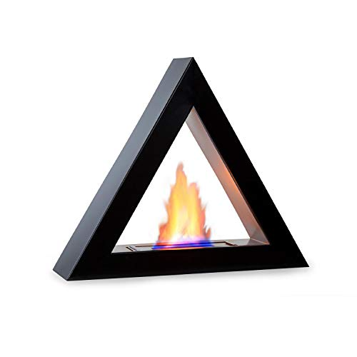 Klarstein Phantasma Gizeh Ethanol Fireplace - Smokeless & Odourless Stainless Steel Bio-Ethanol Burner, 600 ml Tank, About 4 Hours Burn Time, Extinguishing Aid, CleanFire Principle, Colour: Black