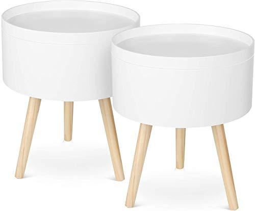 Homfa Set di 2 Tavolini di Stoccaggio da Divano Comodino Contenitore da Salotto in Legno Bianco, Tavolini Rotondo da caff Salvaspazio 38 38 46cm (2 Tavoli)