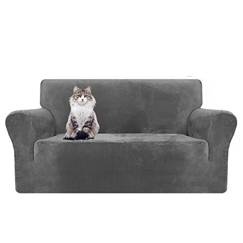 MAXIJIN Copridivano in velluto spesso Copridivano per divano a 2 posti Super elasticizzato per soggiorno Cani Gatto Pet Peluche Coprisedile Divano Coprivaso (2 posto, Grigio)
