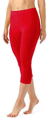 Merry Style Leggings 3/4 Pantaloni Capri Donna MS10-144 (Rosso, XS)