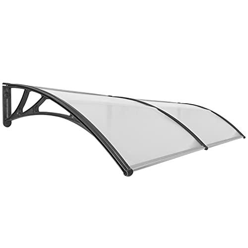 PrimeMatik - Tejadillo de protección 240x100cm Marquesina para Puertas y Ventanas Negro