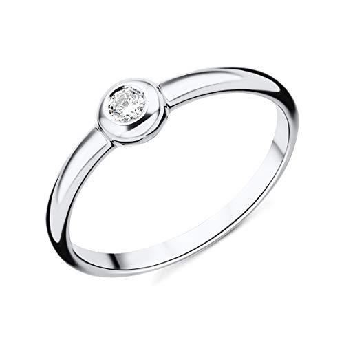 Miore M0615WR - Anillo de mujer de oro blanco (18k) con 1 diamante (talla: 18)