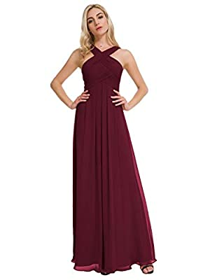 A crisscross neckline and empire waist give this long, soft chiffon bridesmaid dress a goddess-inspired vibe, Fully lined, Built-in bra, elegant and classic. We provide 40+ popular colors for your choice now, and we will always update the colors to m...