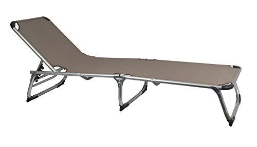 MaxxGarden Sonnenliege Klappbar - Camping Liege Liegestuhl Relaxliege Strandliege - Aluminium - 189x59 cm - Taupe