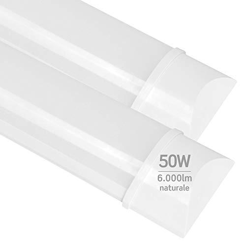 2x Plafoniere LED 50W 150cm Professionale Alta Efficienza Garanzia 5 Anni 6000 lumen - Forma: Tubo Prismatico Slim - Luce Bianco Naturale 4000K - Fascio Luminoso 120
