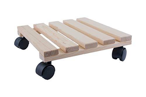HRB Rolluntersetzer Pflanzenroller versch. Tragkräfte 30-200 Kg (Holz eckig, 30x30 cm, 50 Kg)