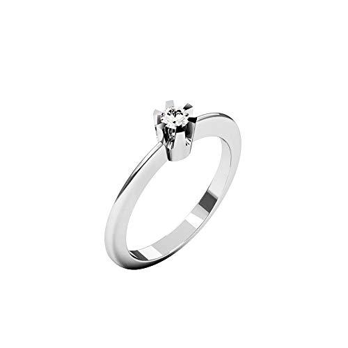 QUIMERA JEWELRY OL Anillo Solitario Oro Blanco 14kt con Diamante 0,11ct | Anillo Compromiso Oro Blanco y Diamante, Talla 12